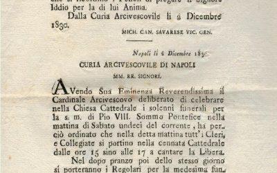 Notizia della morte del Papa Pio VIII