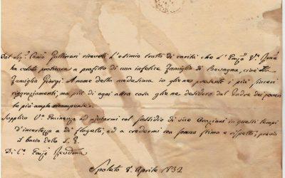 8 aprile 1832. Lettera di Giovanni Maria Mastai Ferretti, arcivescovo di Spoleto (Beato Pio IX, Papa)