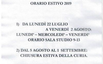 Orario estivo 2019