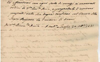 30 ottobre 1831. Lettera di Celestino Cocle, arcivescovo di Patrasso