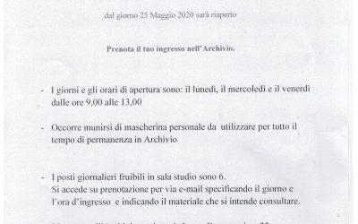 L'Archivio Storico Diocesano di Napoli: è aperto agli studiosi nei giorni: lunedì, mercoledì, venerdì dalle 9,00 alle 13,00 fino a nuove disposizioni.